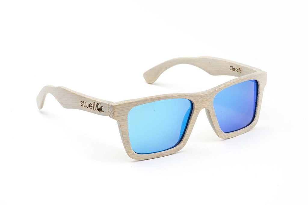 Swell Vision Classic Platinum Gray Bamboo Sunglasses with Blue Polarized Lenses - SwellVision