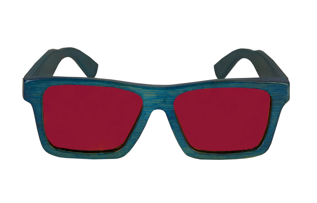 Bamboo Sunglasses: Classic Blue bamboo w/ Red Lenses.