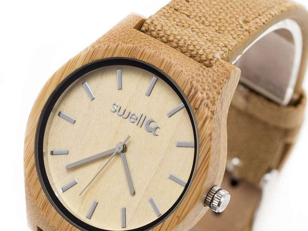 The Desert Sand - Women's 35mm Bamboo & Canvas Watch - SwellVision