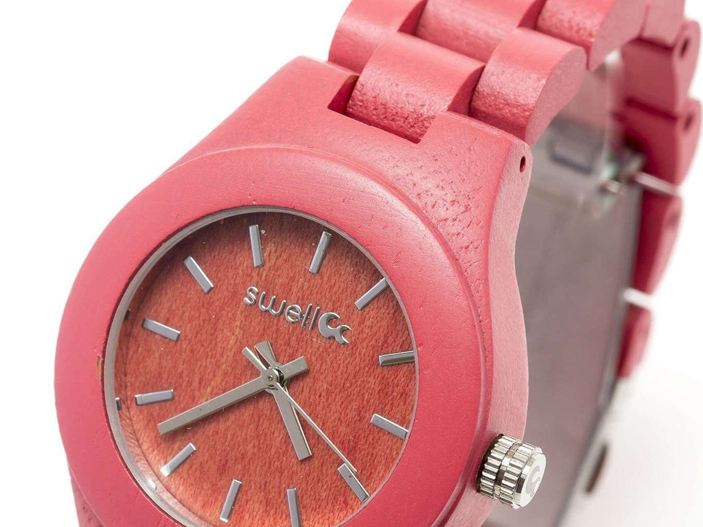 The Natural Beauty Pink - 35mm Women's All Natural Bamboo Watch - SwellVision