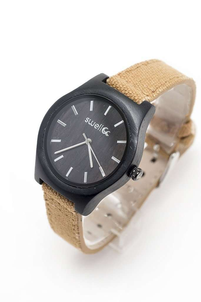 The Women's Hiker - Women's 35mm Bamboo & Canvas Watch - SwellVision