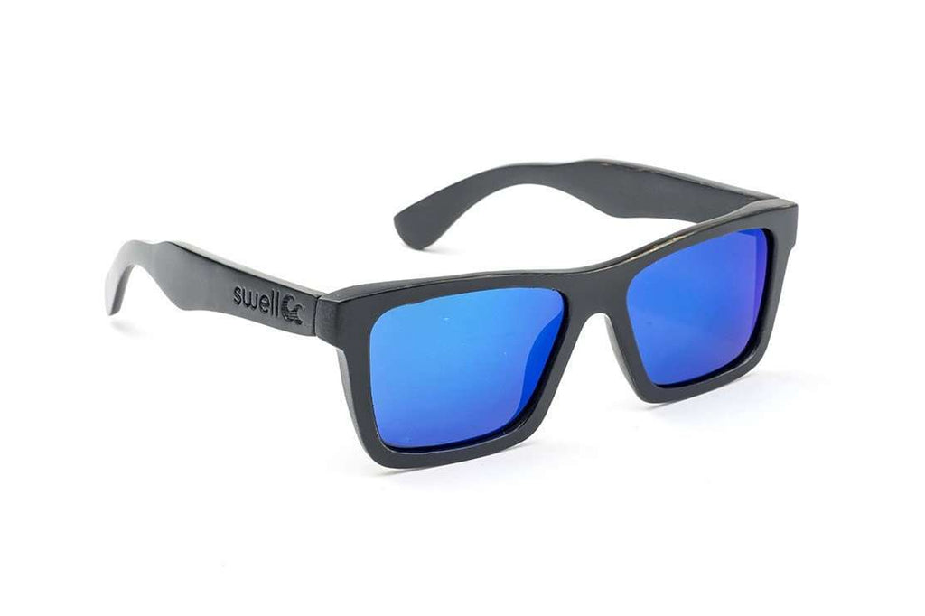 Swell Vision Classic Black Bamboo Sunglasses with Blue Polarized Lenses - SwellVision