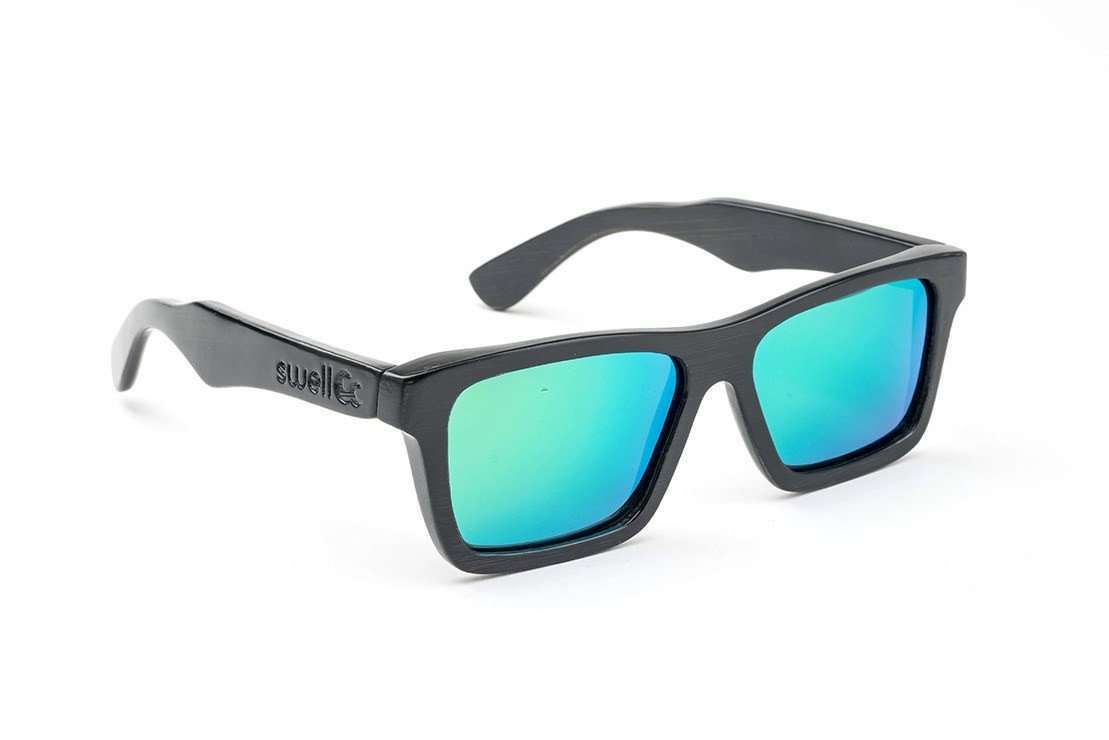 1f9c773076 Swell Vision Classic Black Bamboo Sunglasses with Green Polarized Lenses -  SwellVision