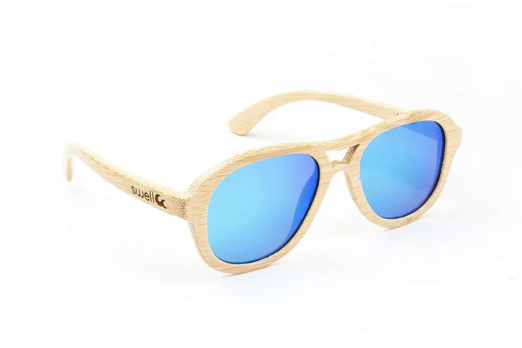 Swell Vision Avalon Natural Bamboo Sunglasses with Blue Polarized Lenses - SwellVision