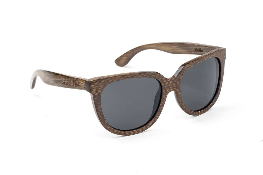 Swell Vision Women's Brown Bamboo Olalla Sunglasses with Smoke Polarized Lenses - SwellVision