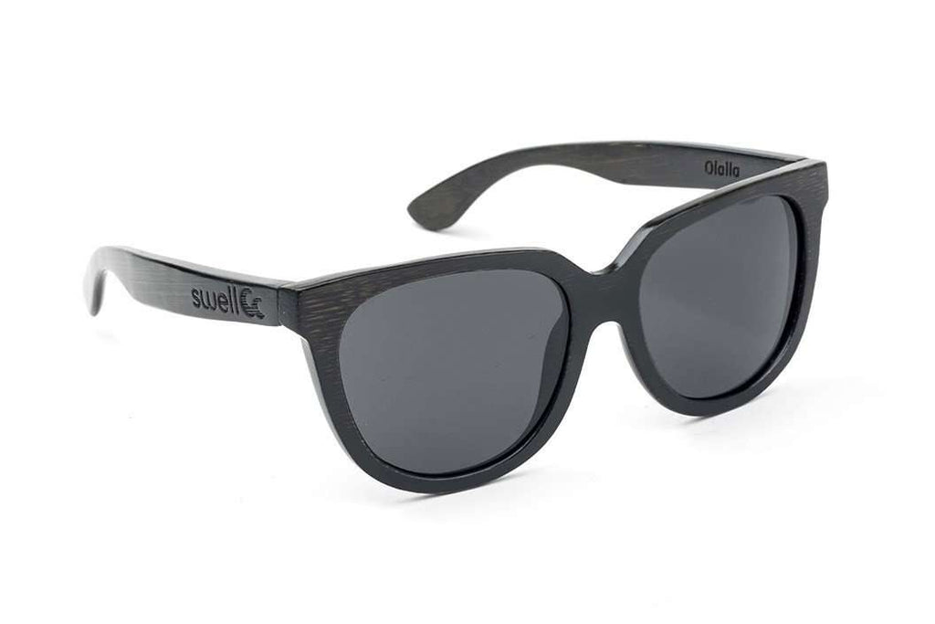 Swell Vision Women's Black Bamboo Olalla Sunglasses with Smoke Polarized Lenses - SwellVision