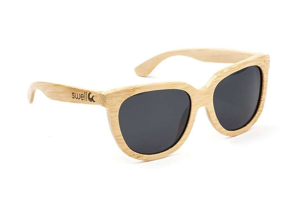 Swell Vision Women's Natural Bamboo Olalla Sunglasses with Smoke Polarized Lenses - SwellVision