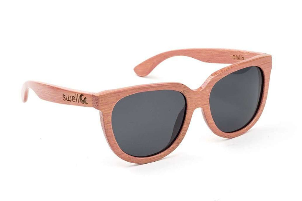 Swell Vision Women's Pink Bamboo Olalla Sunglasses with Smoke Polarized Lenses - SwellVision