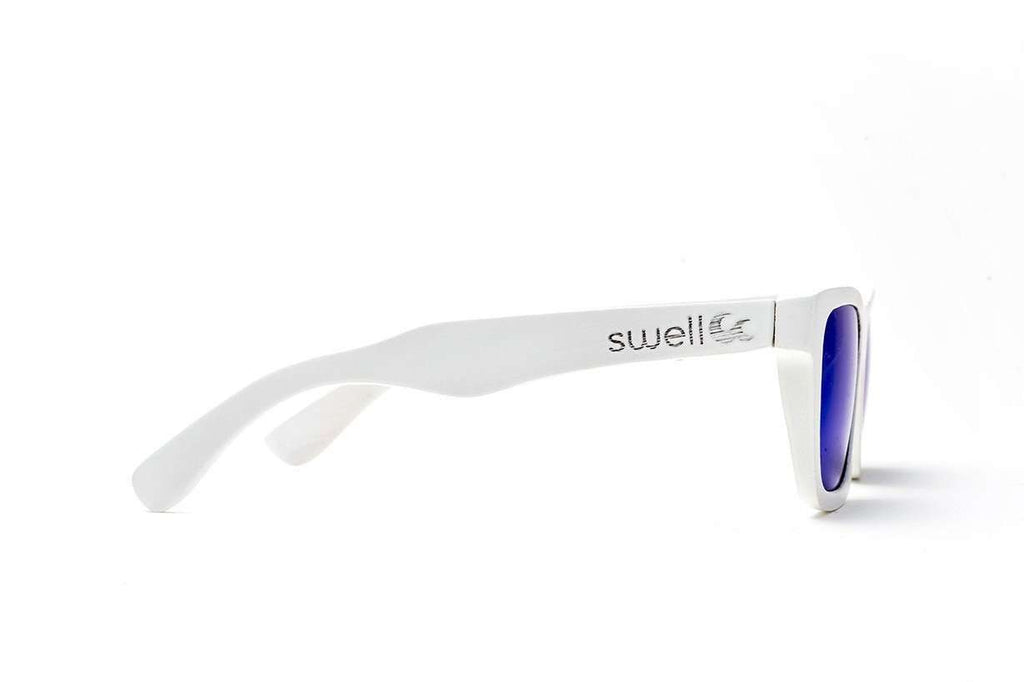 Swell Vision Classic White Bamboo Sunglasses with Blue Polarized Lenses - SwellVision