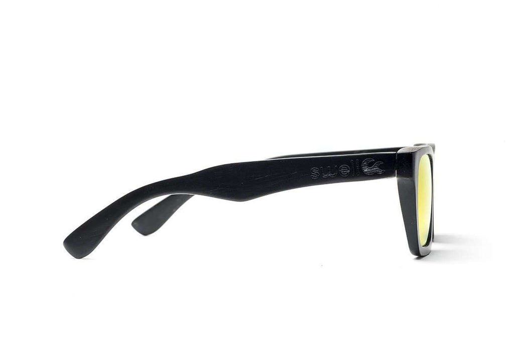 Swell Vision Classic Black Bamboo Sunglasses with Gold Polarized Lenses - SwellVision