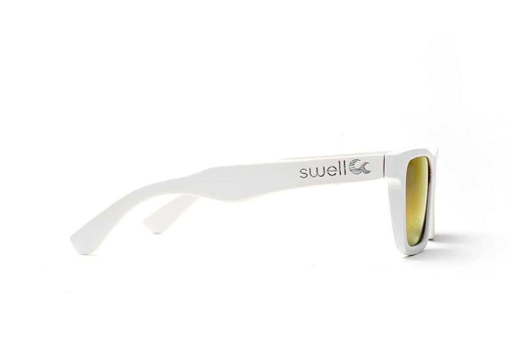 Swell Vision Classic White Bamboo Sunglasses with Red Polarized Lenses - SwellVision