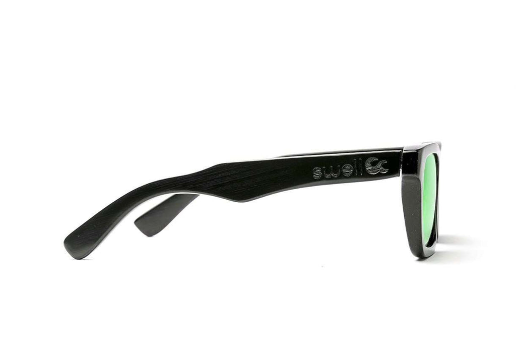 Swell Vision Classic Black Bamboo Sunglasses with Green Polarized Lenses - SwellVision