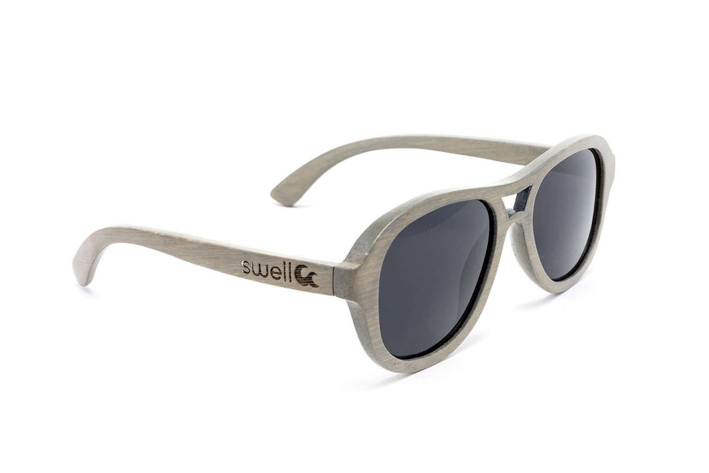 Swell Vision Avalon Platinum Gray Bamboo Sunglasses with Smoke Polarized Lenses - SwellVision
