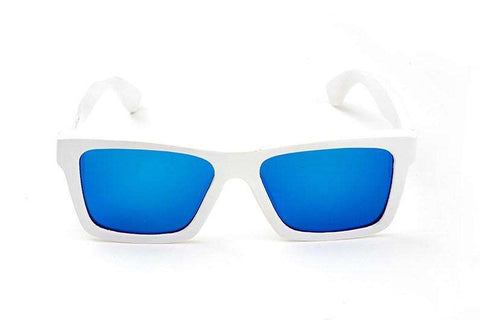 Swell Vision Classic White Bamboo Sunglasses with Blue Polarized Lenses
