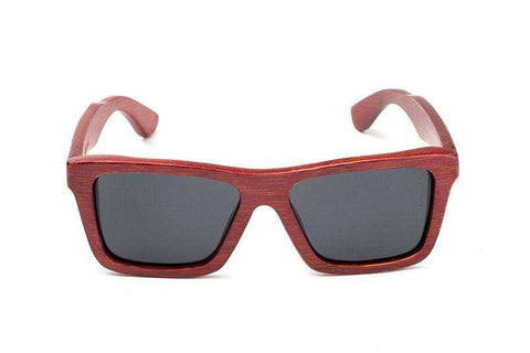 Swell Vision Classic Red Bamboo Sunglasses with Smoke Polarized Lenses