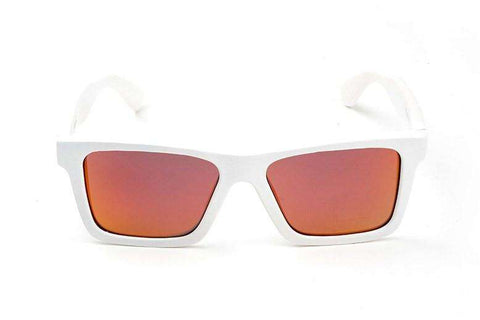 Swell Vision Classic White Bamboo Sunglasses with Red Polarized Lenses