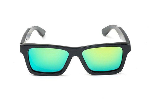 Swell Vision Classic Black Bamboo Sunglasses with Green Polarized Lenses