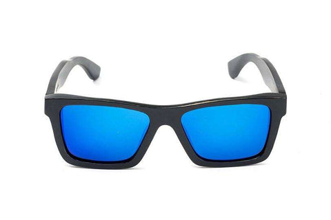 Swell Vision Classic Black Bamboo Sunglasses with Blue Polarized Lenses