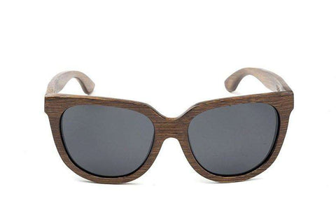Swell Vision Women's Brown Bamboo Olalla Sunglasses with Smoke Polarized Lenses