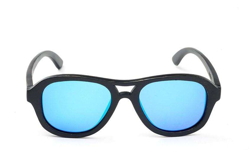 Swell Vision Avalon Black Bamboo Sunglasses with Blue Polarized Lenses - SwellVision