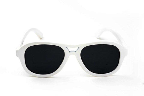 Swell Vision Avalon Polar White Bamboo Sunglasses with Smoke Polarized Lenses - SwellVision