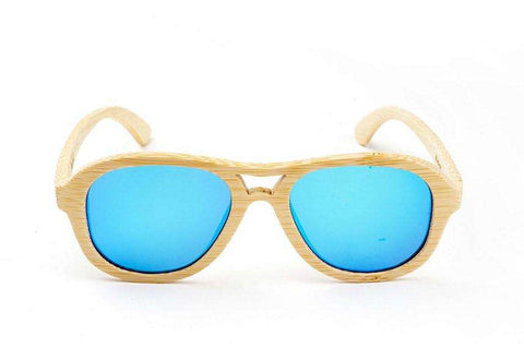Swell Vision Avalon Natural Bamboo Sunglasses with Blue Polarized Lenses