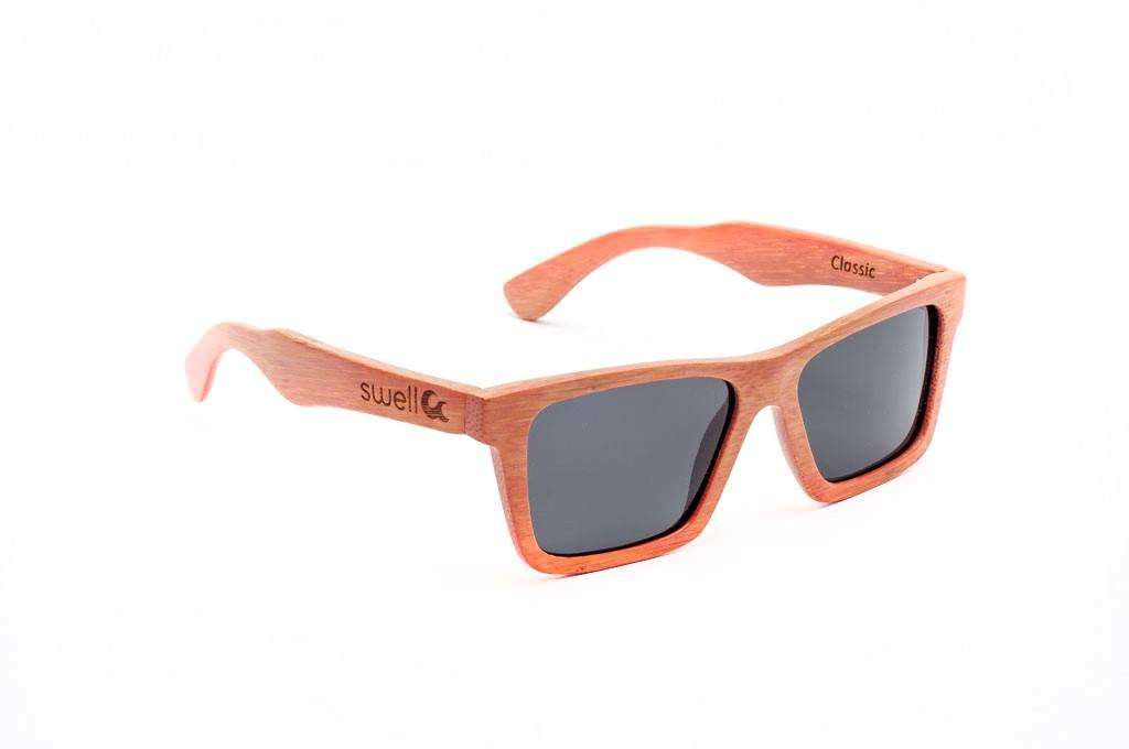 Swell Vision Classic Pink Bamboo Sunglasses with Smoke Polarized Lenses - SwellVision