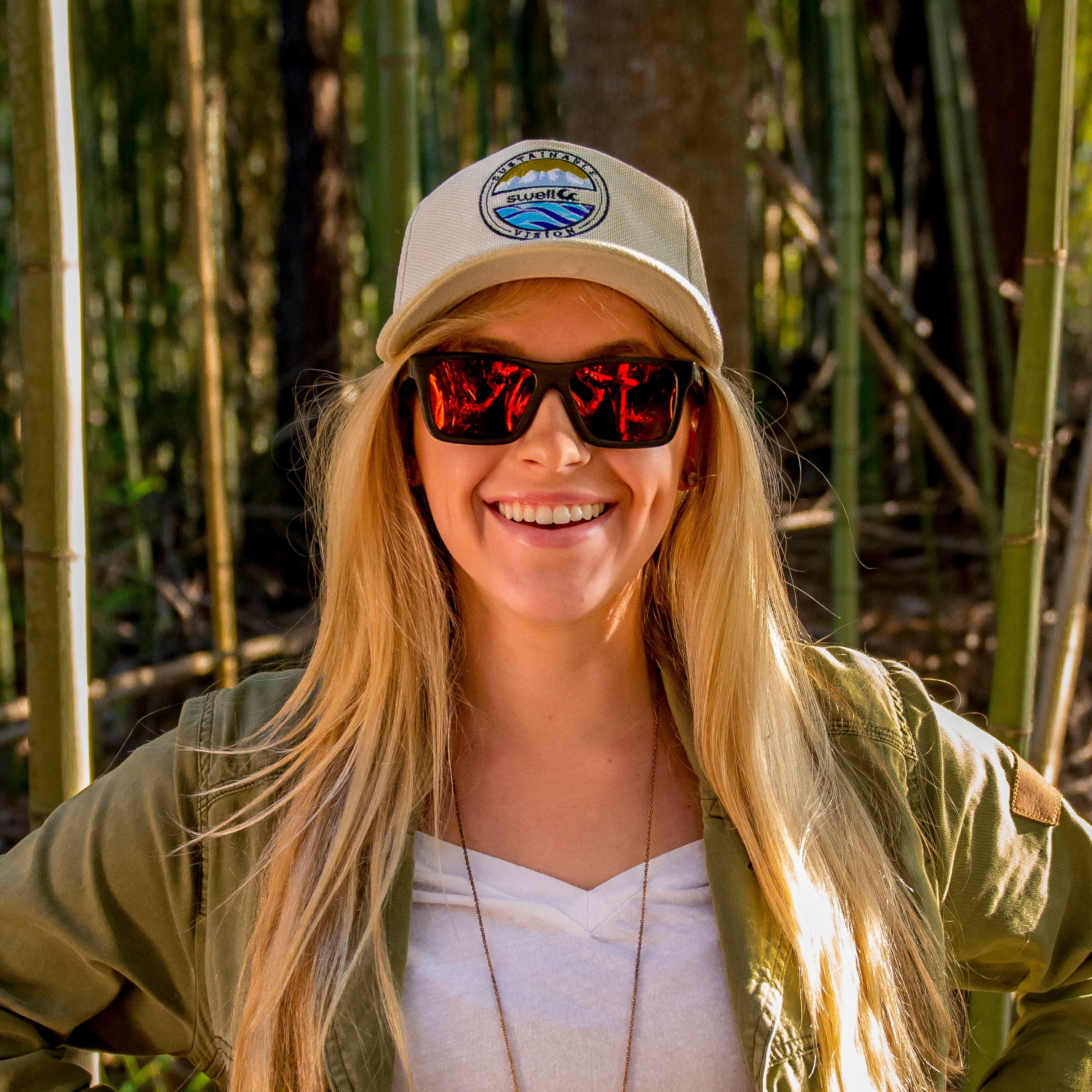 Classic Bamboo Polarized Sunglasses in Black/Fire