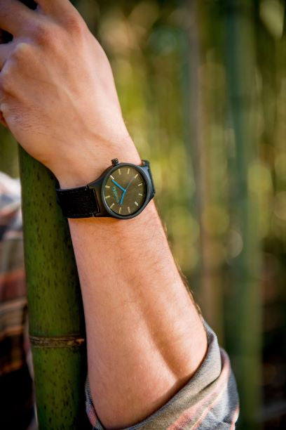 The Backpacker Obsidian Bamboo Watch - 42mm