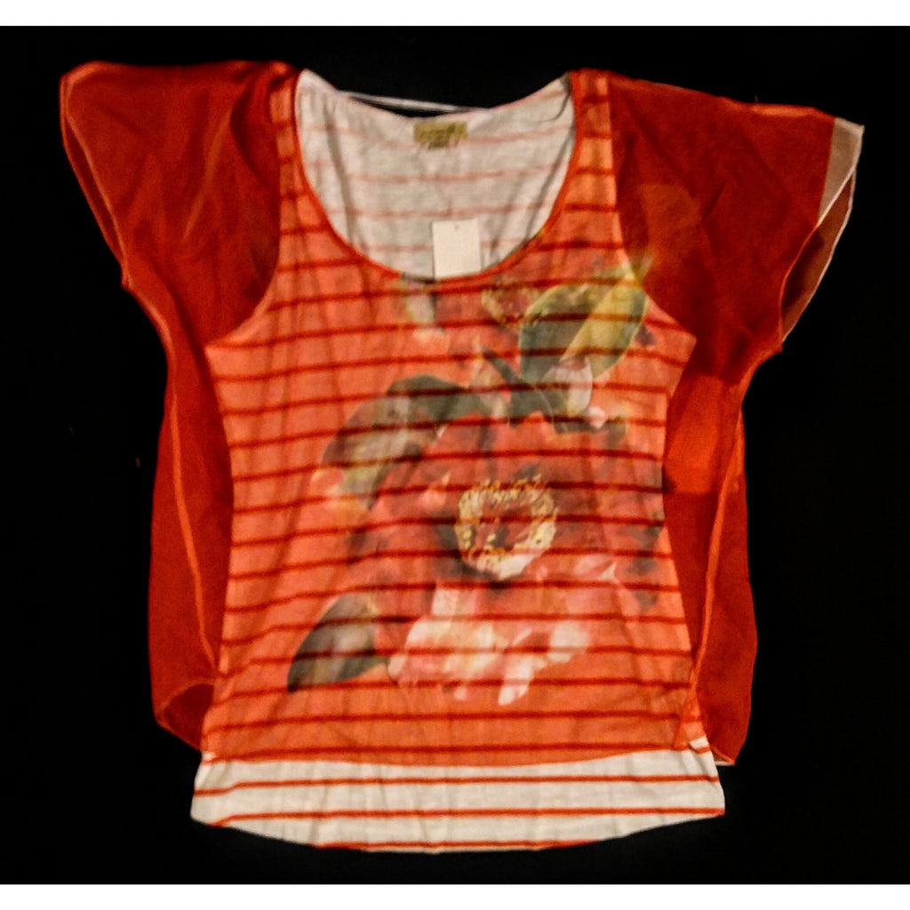 One World beautiful cotton tee with netted orange overlay  size large