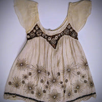 White Chocolate netted embroided top - size small/x-small -.