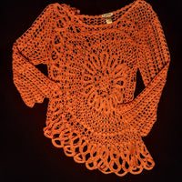 K JORDAN beautiful crocheted sweater size large
