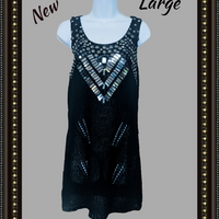 BCBG black sequined dress - beautiful! (b)