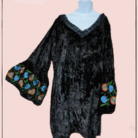 A&A crushed velvet look top with embroidery - beautiful! small/med (p*)