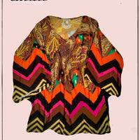 One World -  adorable, colorful, hippie top - size S