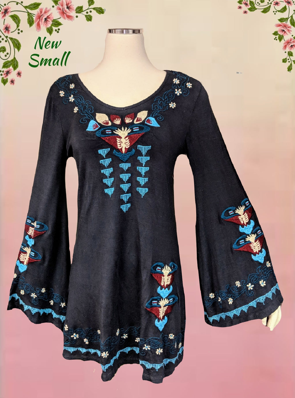 Caite embroidered top - beautiful size sm (b)