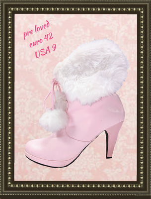 Pink furry boots- adorable - size 9