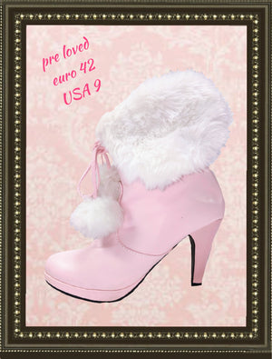 Pink furry boots- adorable - size 9 ,(b)