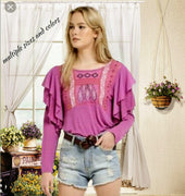 free people adorable top with ruffles - multiple sizes and colors (b)