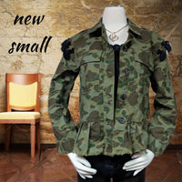 Coffee shop adorable army green jacket - sm (b)