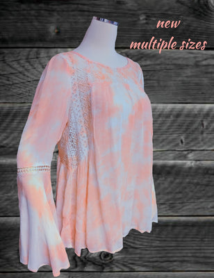 Chelsea and Violet  hippie top - beautiful peaches and cream - multiple sizes (b)