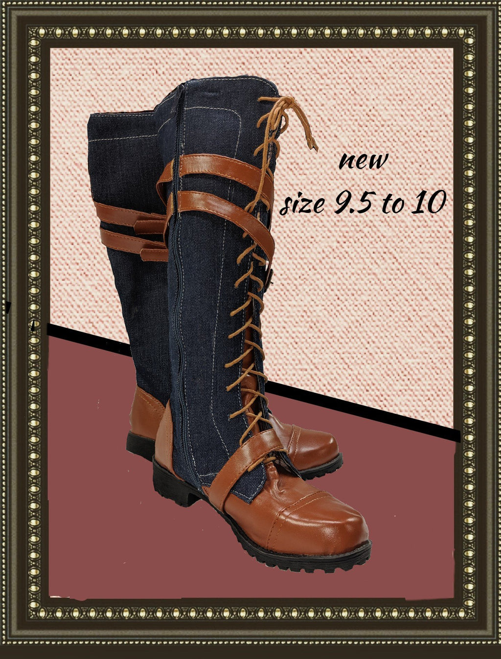 unbranded adorable denim boots - size 9.5 to 10 (b)