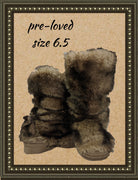 No boundaries fuzzy boots with crisscross ties - so cute - size 6.5 (b)