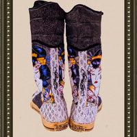 Ed Hardy tie up boots -  unique and comfy- size 8(b)