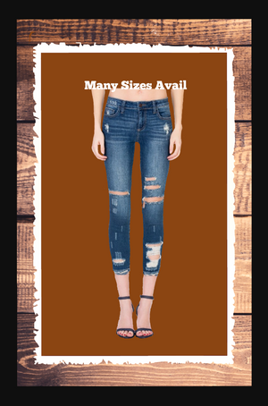 Destroyed ankle cut out skinny jeans
