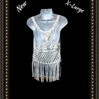 Roxy macrame top with fringes - adorable size extra large