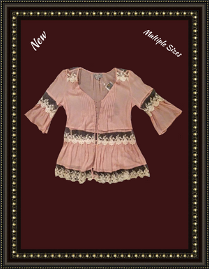 Solemno pink lacey top - size MED too cute! .