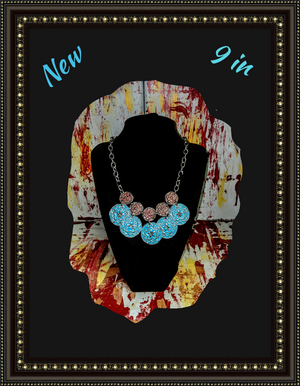 Unique turquoise coin look necklace ""