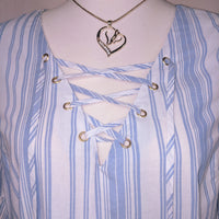 Express blue striped shirt - so cute and comfy - size large (b)