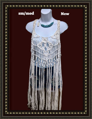 White Chocolate macrame fringed top - beautiful size small / medium